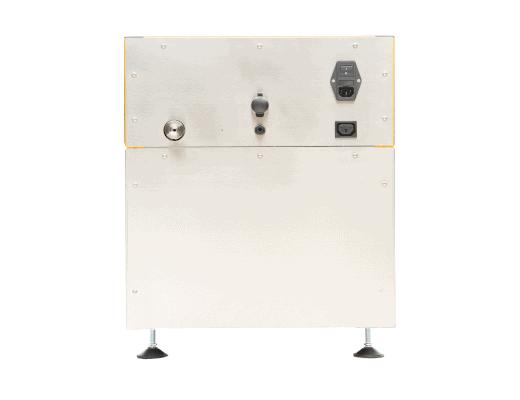 Rückseite des Flüssiganalysators und Massenspektrometers Vario one in einem kompakten, quadratischen Design.