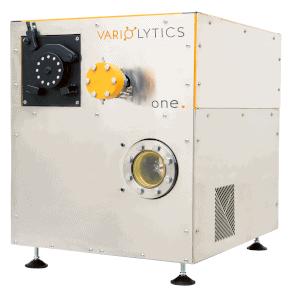 Der Flüssiganalysator und Massenspektrometer Vario one in einem kompakten, quadratischen Design.