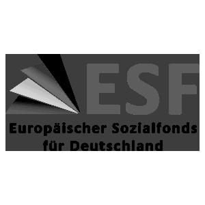 Das Logo des Europäischen Sozialfonds für Deutschland (ESF) in schwarz-weiß.